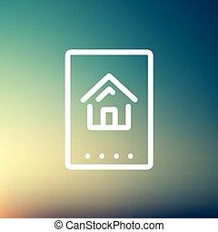 electrónico, línea, keycard, delgado, icono