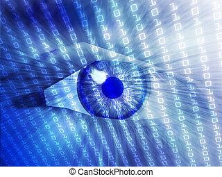 electrónico, ojo, ilustración