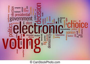 electrónico, votación, palabra, nube, con, resumen, plano de fondo