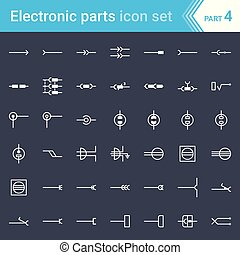 Complete vector set of electric and electronic circuit diagram symbols and elements - electrical connectors, sockets, plugs and jack