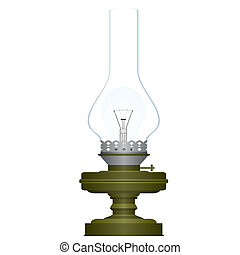 Electric and kerosene lamp - Old oil lamp inside which has a...