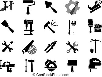 Electric and manual tools black icons