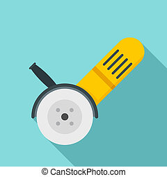 Electric angle grinder icon, flat style