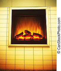 Electric artificial fireplace with orange fire flame interior. Ad.