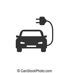 Electric auto icon. Flat design. Vector illustration.