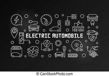 Electric automobile vector outline modern illustration