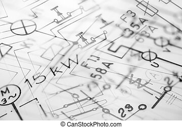 Digital photocomposition of hand-drawn electric blueprints, suitable for background