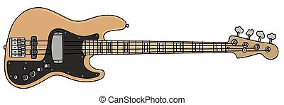 Electric bass guitar - Hand drawing of an electric bass...