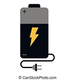 Electric battery with plug and wire