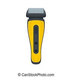 Electric beard razor icon, flat style