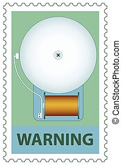 Electric bell on stamp