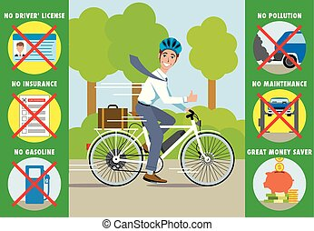 electric bicycle vs. car - vector illustration showing the...