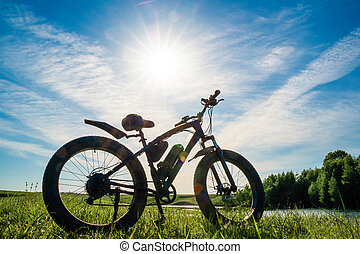 Electric bike with thick wheels on the background of beautiful nature. Pleasant sports hobby.