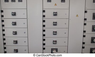 Electric board and system control stand in industrial plant...