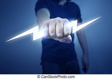 Electric Bolt - A man holding a stylized electric bolt.