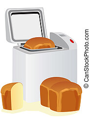 Electric oven for baking of bakery products and standing next to the bread