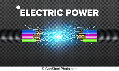 Electric Break Cable Vector. Electrical Circuit. Industrial...