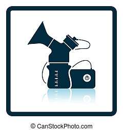 Electric breast pump icon. Shadow reflection design. Vector...