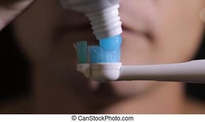 electric Brushing Teeth close up