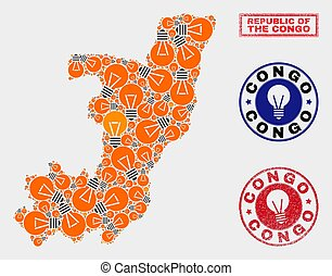 Electric Bulb Collage Republic of the Congo Map and Textured Seals