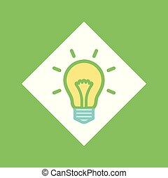 Electric Bulb in Square, Glowing Lightbulb Idea