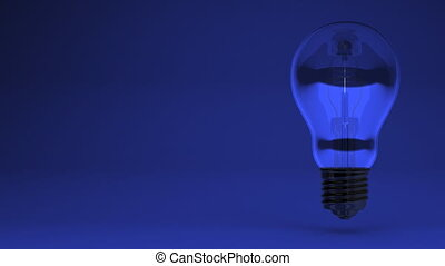 Electric Bulb On Blue Text Space. 3D render Animation.