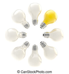 Electric bulbs arranged in a circle - Idea conception:...