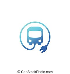 electric bus with plug icon, vector