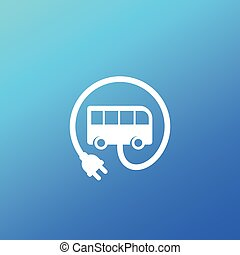 electric bus with plug icon, vector sign