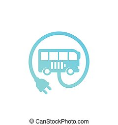 electric bus with plug vector icon