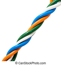 Electric cable ends, isolated on white. Colorful bundle of elect