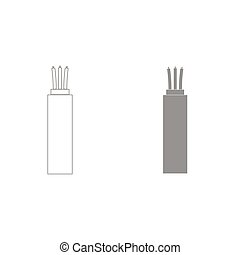 Electric cable grey color set icon . - Electric cable it is...