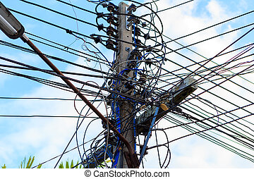 Electric cable on Electricity post