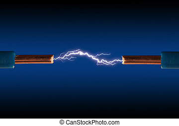 Electric cable with sparks on a black background.
