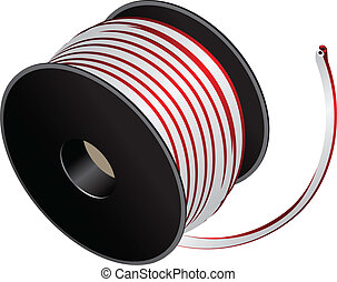 Electric cable reel - Coil with electric two-core cable....