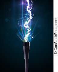 Electric cable with glowing electricity lightning - Electric...