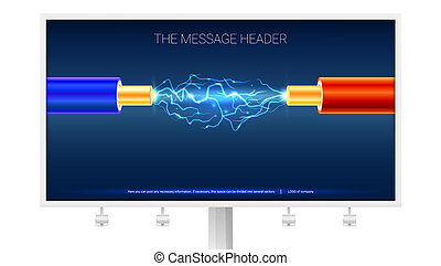 Electric cables and sparks with lightning on the billboard. Copper electrical cable in blue and red insulation with electrical arc between the wires, 3d illustration