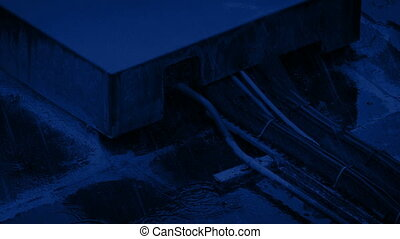 Electric Cables Box In Rain At Night - Cable box in heavy...