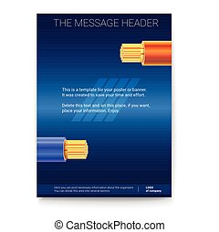 Electric cables in the colored braid on dark background. Poster design for presentation, cover art, banners or advertising. 3D illustration. Electrical stranded copper wires, print design.