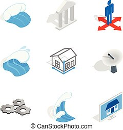 Electric capacity icons set, isometric style
