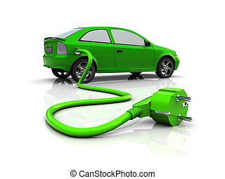 electric car - 3d illustration of hybrid car with power...