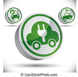 Electric car 3d vector icon.