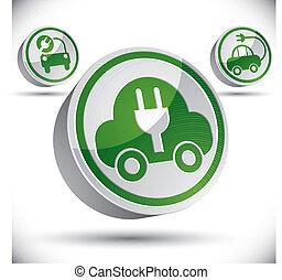 Electric car 3d vector icon.