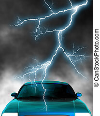 Electric car - A 3d rendered car top with lightning stroke.