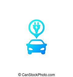 electric car and plug, vector icon