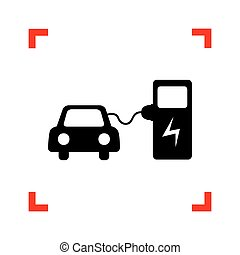 Electric car battery charging sign. Black icon in focus corners