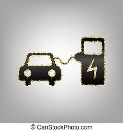 Electric car battery charging sign. Vector. Blackish icon...