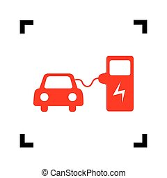 Electric car battery charging sign. Vector. Red icon inside black focus corners on white background. Isolated.