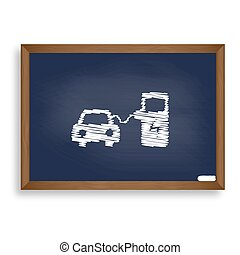 Electric car battery charging sign. White chalk icon on blue...