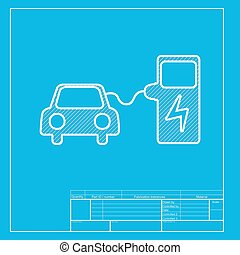 Electric car charging station sign white section of icon on electric car battery charging sign white section of icon on blueprint template malvernweather Images